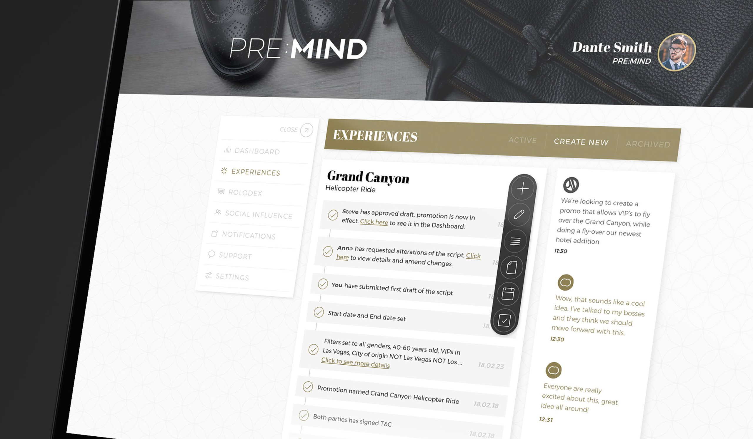 PRE:MIND dashboard, zoomed