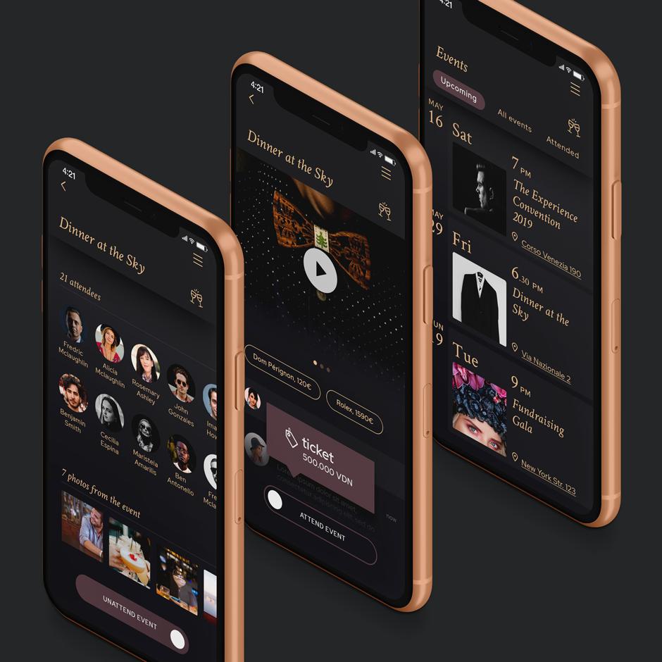Three iPhones running El:event