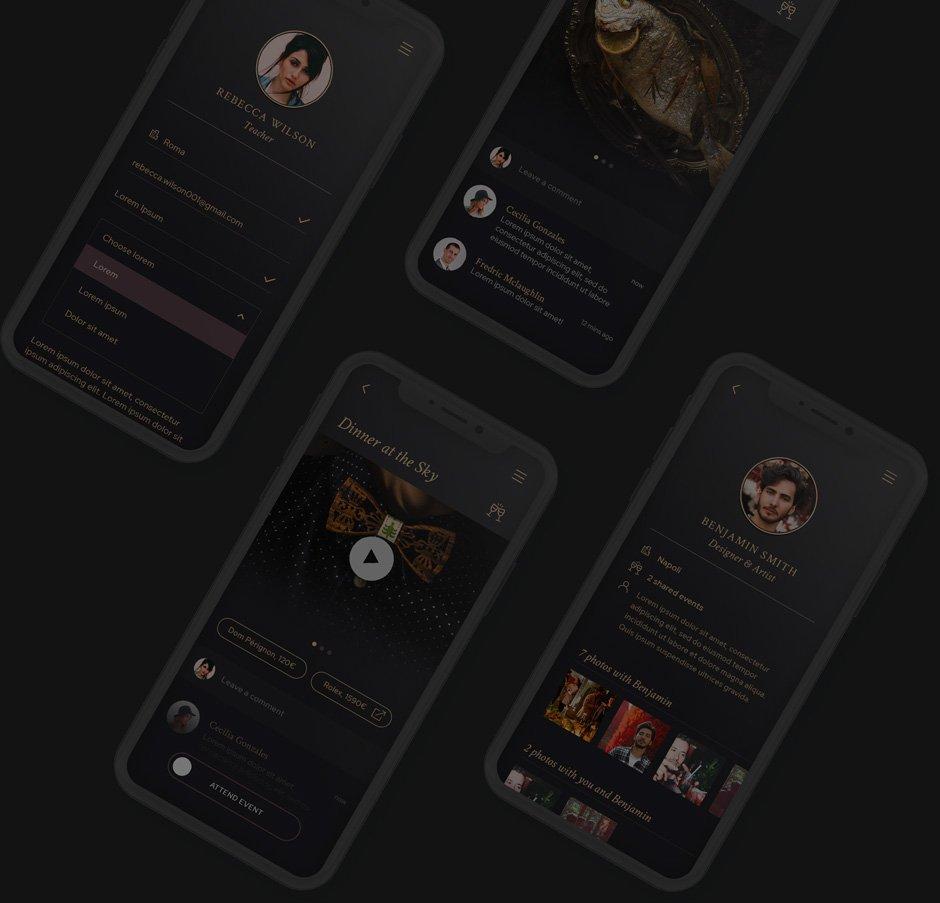 Dark background of four iPhones