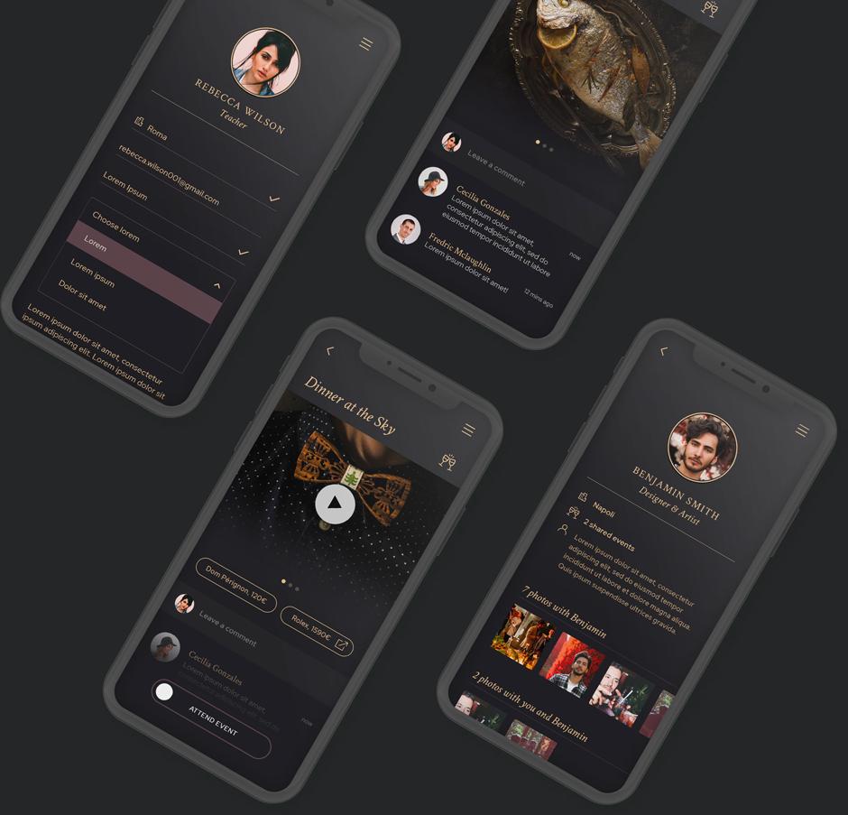 Four iPhones running El:event